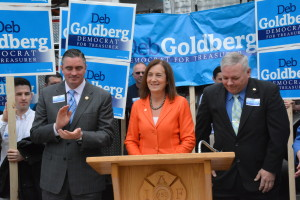 Deb Goldberg with PFFM President Ed Kelly and Brookline Fire Fighters Local 950 President Paul Trahon